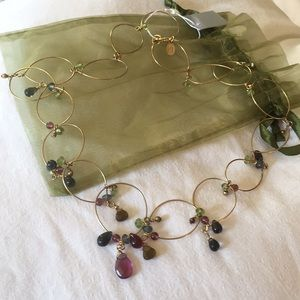 Anthropologie LYDELL NYC Gold Rounds & color Gems